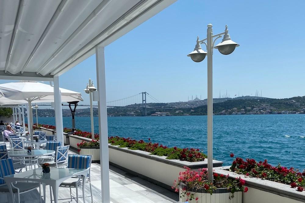 dining terrace at Four Seasons Bosphorus hotel, overlooking Bosphorus river in Turkey