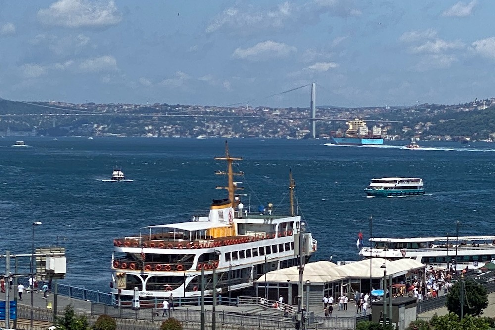 ferries in Bosphorus River in Istanbul