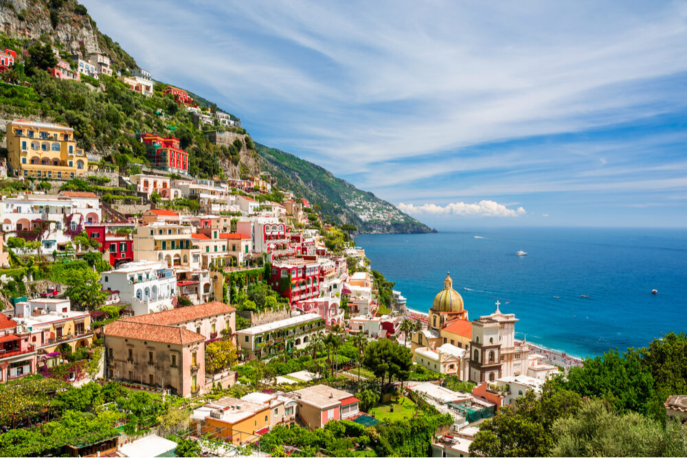 view of Positano Italy on the Amalfi Coast a multicolored village on the side of a mountain overlooking the ocean